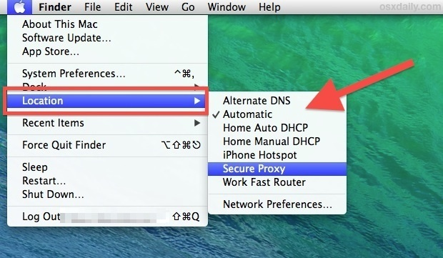 Quickly switch between network locations in Mac OS X from the menu bar