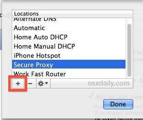 Add a new network location