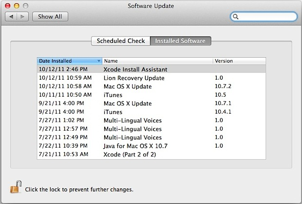 Check installed software updates