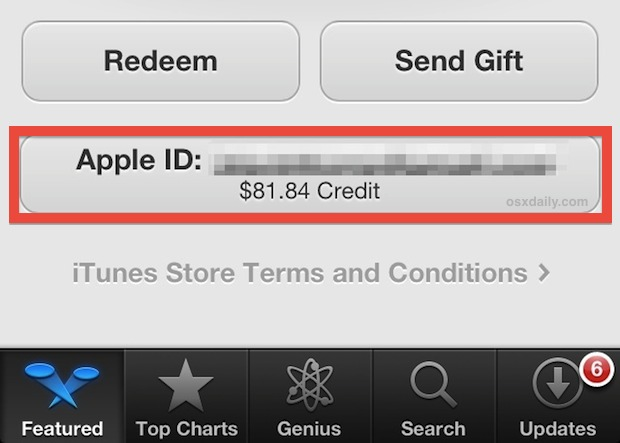 View the iTunes / Apple ID account balances and balance from the App Store in iOS