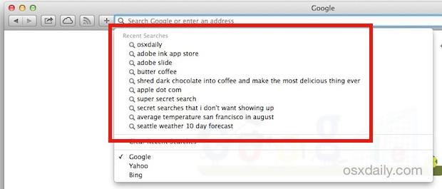 Safari Recent searches list