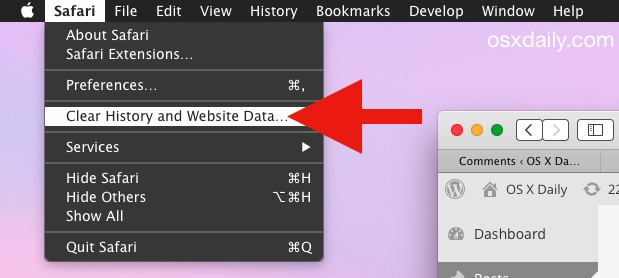 Safari Clear history and website data in Mac OS X