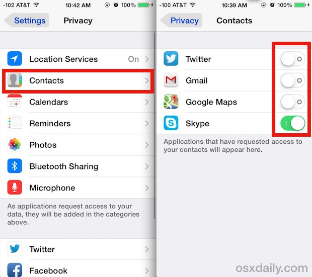 Control which apps can access Contacts in iOS