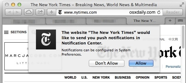 Push notification request in Safari for Mac OS X