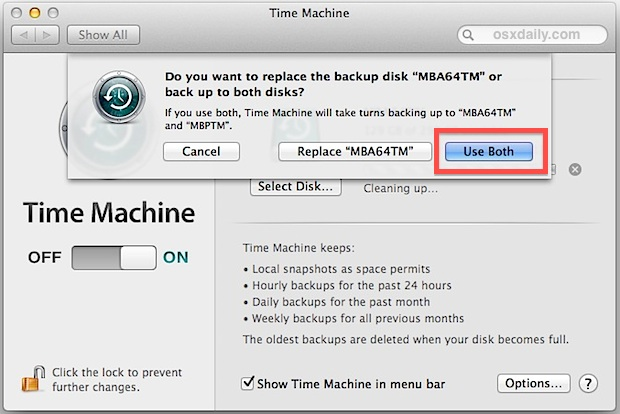 Use two hard drives as Time Machine backups in Mac OS X