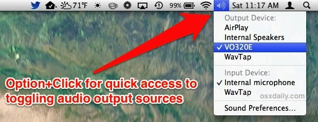 Switch audio output sources in Mac OS X to HDMI sound, speakers, etc.