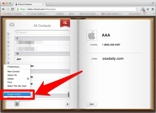 Save one contact from iCloud