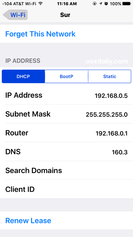 Find wifi IP address on iPhone or iPad