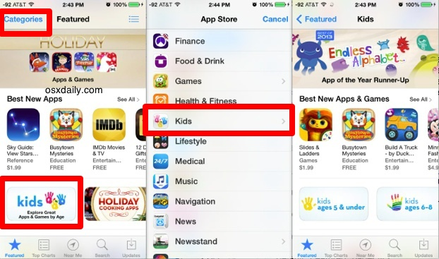 Open and browse the Kids App Store in iOS