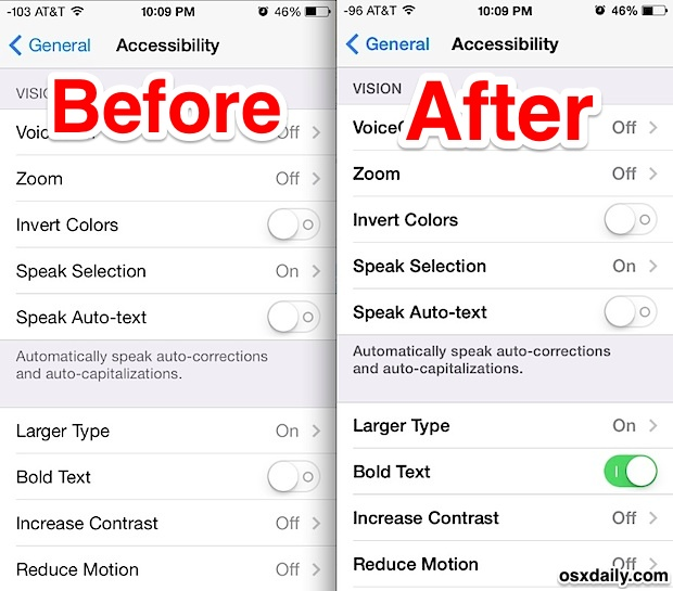 Bold fonts make it easier to read in iOS 7