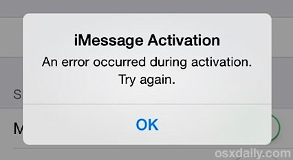 Fix an iMessage activation error