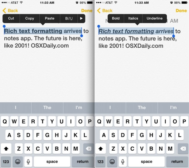 Apply text formatting to the Notes app