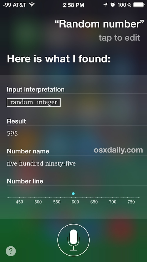 Generate a random number with Siri