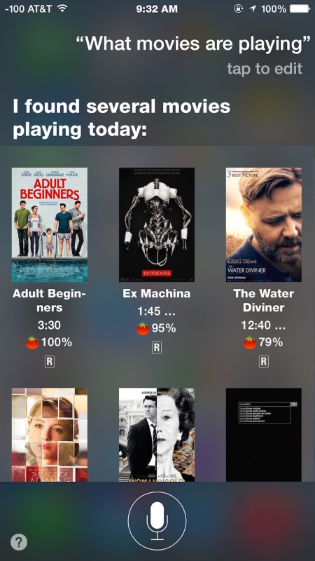 Find out which movies are playing with Siri