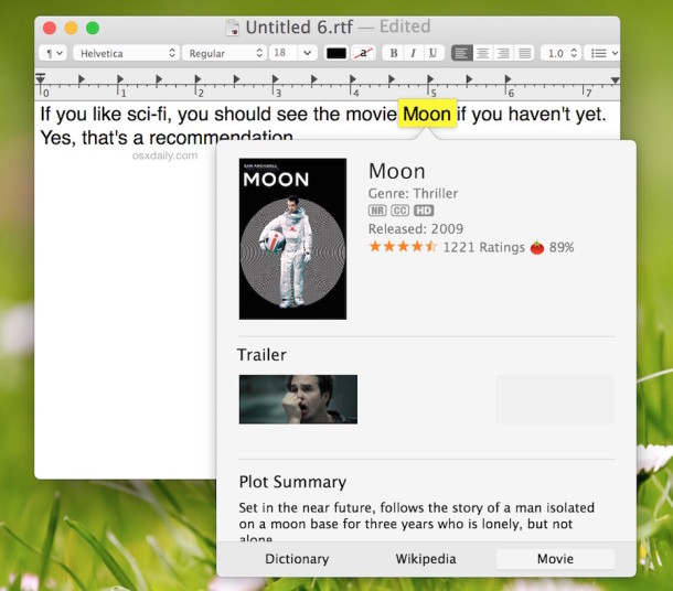 Download movie information from almost anywhere in Mac OS X