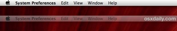 The external display menu bar in OS X Mavericks functions as a focus indicator
