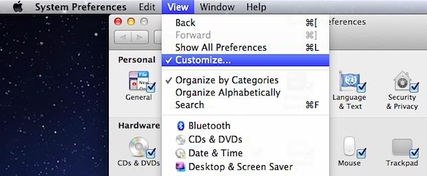 Hide System Preferences Mac OS X