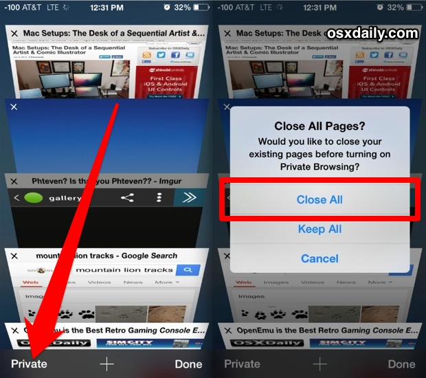 Close all tabs in Safari for iOS