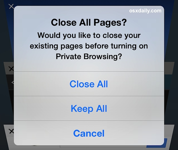 Close all Safari tabs in iOS