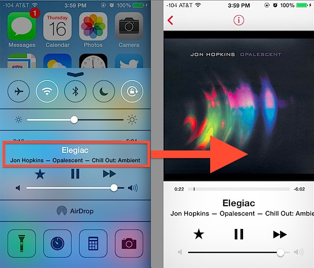 Jump into the Music app from the Control Center
