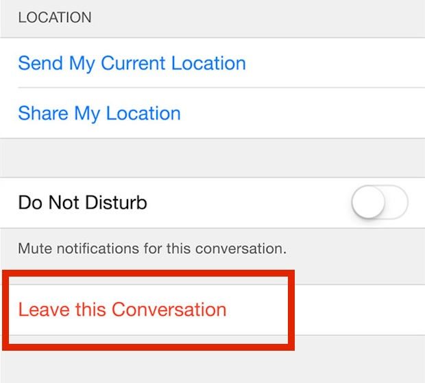 Leave this conversation to remove yourself from a group messaging chat