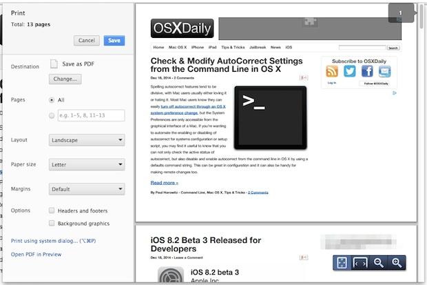 Custom Chrome print window in Mac OS X