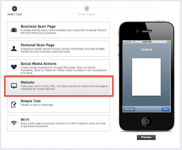 Create a QR code for a website