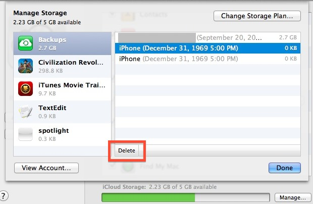Manage iCloud backups and storage in Mac OS X