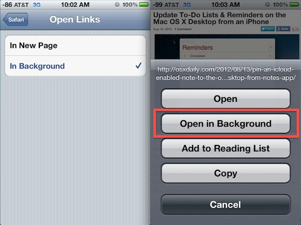 Open Safari links in the background on iOS