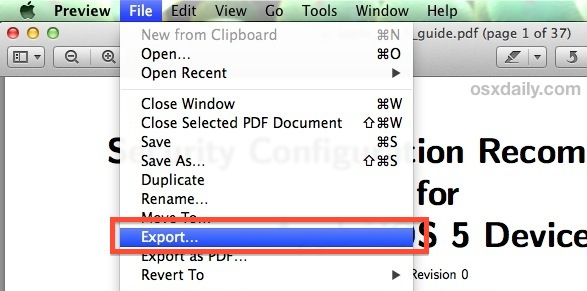 Export a PDF to compress the file size in the Preview app for Mac OS X.