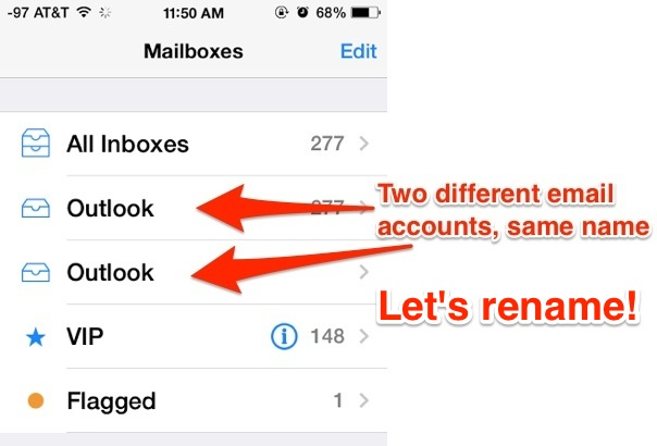 Different email accounts with the same name, rename the email accounts in iOS
