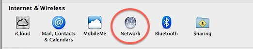 Network preferences in Mac OS X