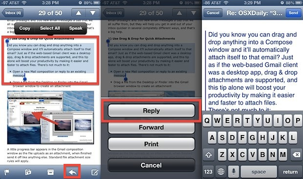 Reply selected text on an iPhone with Mail