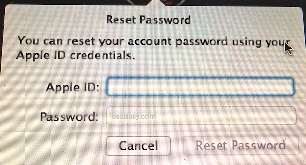 Reset a password in Mac OS X with the Apple ID