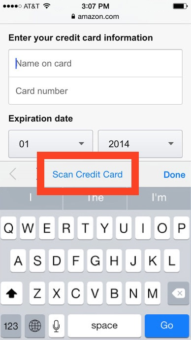 Scan credit card information with iPhone camera in Safari