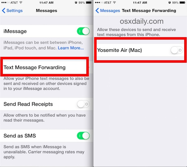 Enable SMS text messaging on a Mac from iOS
