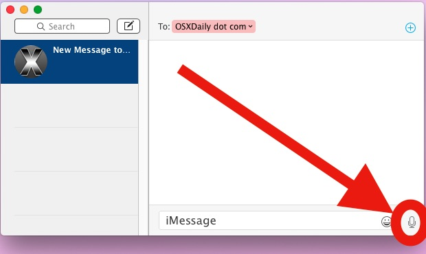 Record an audio message in the Mac OS X Messages app