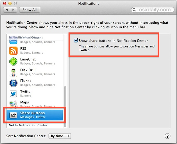 Enable messaging in OS X Notification Center