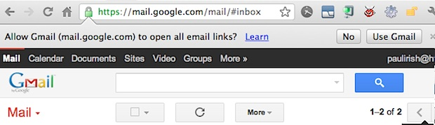 Gmail as the default email address in Chrome
