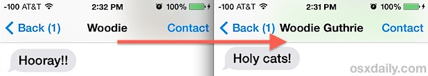 Before and after message renaming in iOS 7