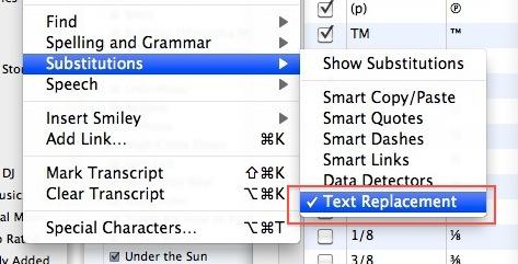 text replacement mac os x