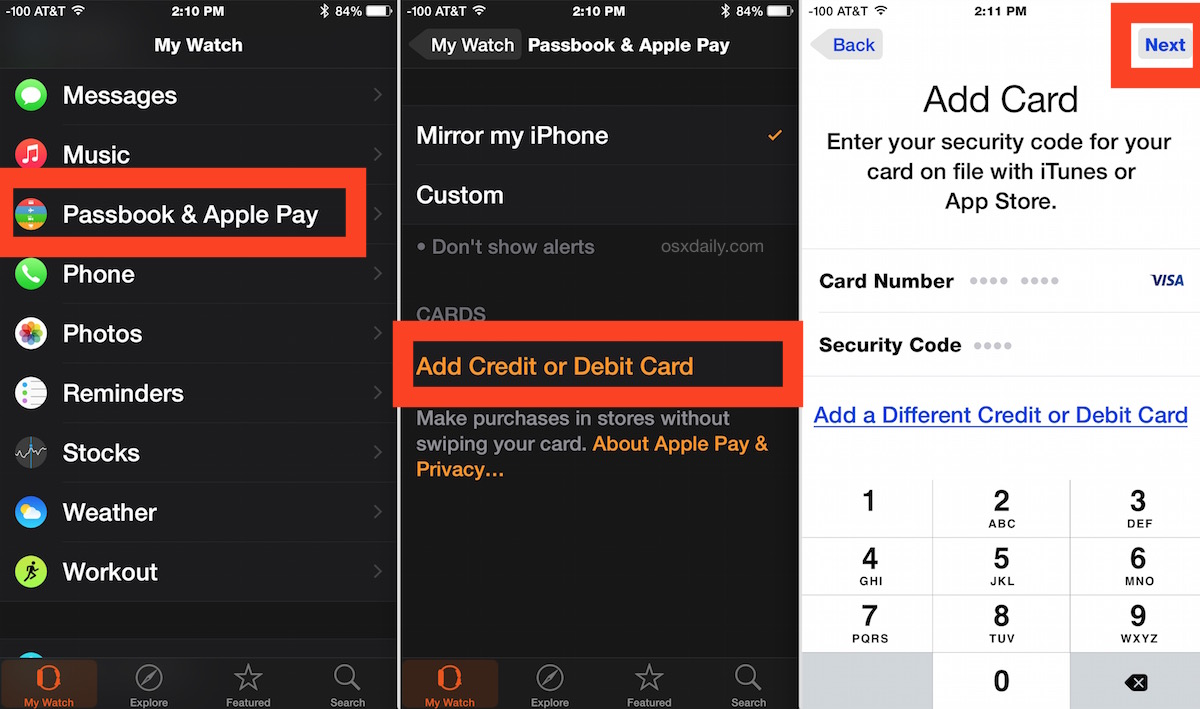 How to    add Apple Pay card to Apple Watch