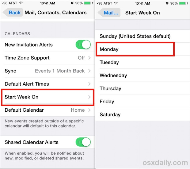 Start the week on any day in Calendar for iOS