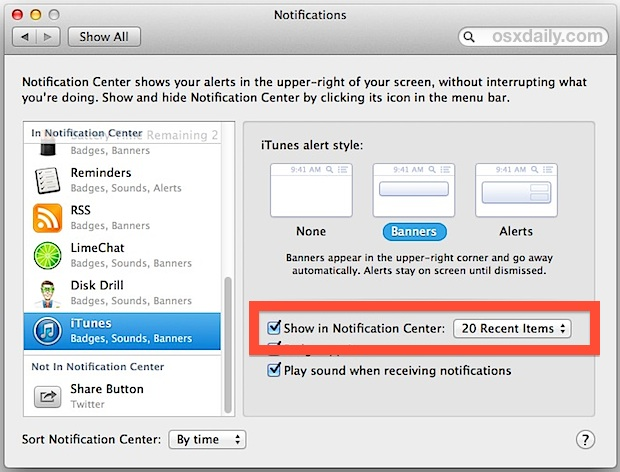 Adjust the number of notification songs in iTunes