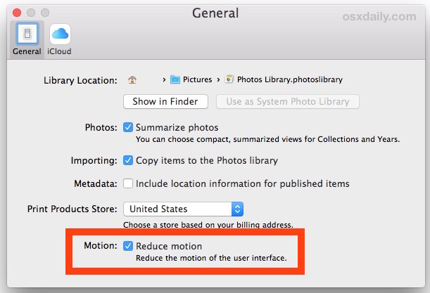 Reduce movement in the Photos app for Mac OS X
