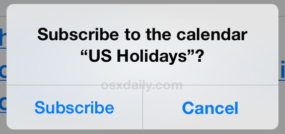 Subscribe to the vacation calendar in iOS