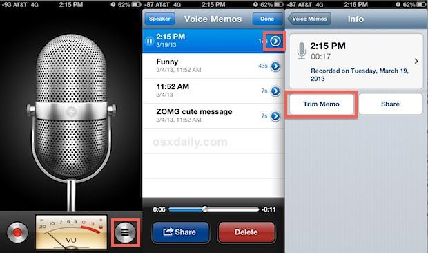 Shorten voice memo recordings on iPhone