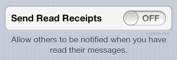 Turn off read receipts in iOS messages