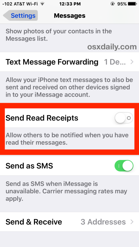 Turn off read receipts in Messages for iOS