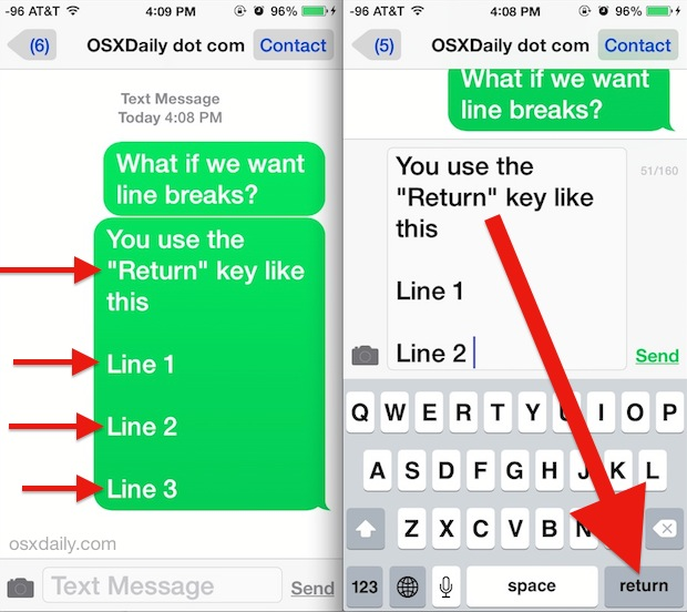 Type a line break in the Messages app for iOS
